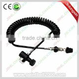 Paintball Thick Coil Remote Hose with Quick Disconnect Slide Check And 1500 Psi Mini Gauge