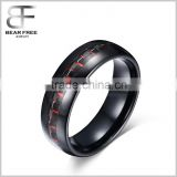 Mens 8mm Tungsten Ring Black and Red Carbon Fiber Inlay Engagement Wedding Band