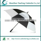 customized new design straight golf umbrella with fully black fiberglass shaft and ribs for hot sale and wholesales