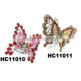 big colorful metal butterfly crystal hair clips wholesale