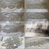 Bridal beaded rhinestone appliques to sew for wedding dresses and iron on rhinestones appliques wholesale