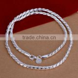 wholesale 4mm 20inchs thin chain 2014 fashion women 925 sterling silver necklace