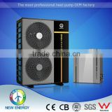 China hot sale air to water 9kw 15kw heating cooling monoblock steel pressed air source evi heat pump tank