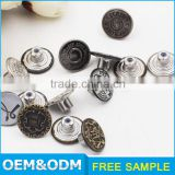 nickel lead free factory brass alloy material customize jean button