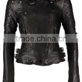 High quality and fashion ladies black leather jacket ladies genuine slim fit leather jackets