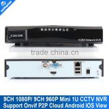 Mini 1u HD HDMI 9ch NVR 1080p or 960p 9 channel Network Video Recorder Super Standalone for 2mp IP camera Onvif P2P Cloud view