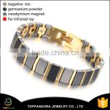 2016 Fashion Jewelry Unisex Chain Tungsten Steel Energy Magnetic Health Jewellery Gold Plated Men Bracelet