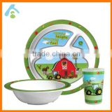 Cheap Mealtime Dinnerware Set of 3 Cartoon Baby Compartment Plate Bowl Cup