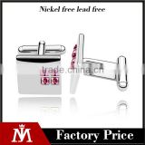 Alibaba customized latest metal silver cuff link jewelry mens shirts austria crystal cufflinks