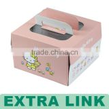 Square cake box with handle , paper packing box for food