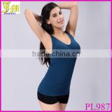 Fashion Sexy Women Modal V-Neck Built In Bra Padded Self Bra Belted Camisole Vest Tank Top