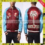 2017 wholesale fashion latest design polyester varsity jacket for men embrioidery casual men jacket factory manufacture