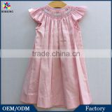 Children Cotton Frocks Designs Pink Corduroy Embroidered Cake Baby Girls Birthday Party Smocked Dresses