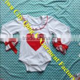 Boutique Wholesale Girls Spring Cotton Clothes Fashion Kids White Long Sleeves Valentine Days Romper with Heart Print