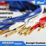 Faux Lambskin Leather Shoelace w/Gold Aglet Tips - Ultra Premium Sheepskin PU Leather Shoes Laces - Accept Custom All Sizes