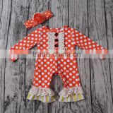 Wholesale yawoo polka dots cotton lovely fall kid clothing baby rompers children's boutique clothes