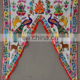 Ganesha God Indian toran temple decor door arch curtain window valance embroidered birds and animals boho decor wholesale ethnic