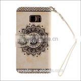 Embossed Flower Lanyard Cell Phone Case TPU Leather Card Slot Mobile Phone case for Samsung s5 s6 s6 edge s7 s7 edge