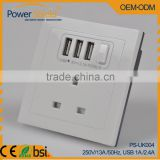 Type G Euro/UK Electrical Wall Power socket with 3 USB outlet 230V 13A BSi Standard For Hotel/Home/Office