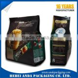Gravure Pringing Instant Coffee Packaging Bags, Aluminum Foil Coffee Bags, Side Gusset Coffee Sachet