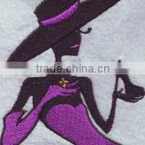 100% twill fabric iron on embroidery patch ,sexy lady design custom embroidery badge clothing patch