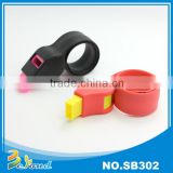 New trend football pattern whistle silicone slap wristband
