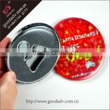 Guangzhou high quaity printing logo metal promotional custom bottle opener fridge magnet