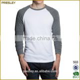 wholesale cotton 100% plain blank raglan 3/4 sleeve t shirt, custom cheap 3/4 sleeve raglan t shirts