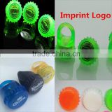 Custom logo cover of beer bottle shaped Light Up LED Finger Ring Lights bottle caps show