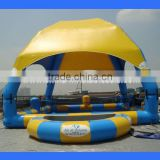 Inflatable swimming pool with tent, swimming pool cover