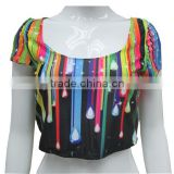 Wholesale Plus Size Women Sexy Low-cut Fashion Clothes 2014 Summer National Colorful Print Crop Tank Tops