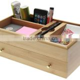 Desk Stationery Box, Desktop Supplies Organiser with drawer Made of Natural Bamboo storage