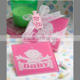 Wholesale customized logo glass coaster for baby girl shower gifts