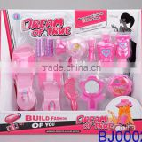 Fashion kids toy pink plastic slipper and hair stylist tools kit