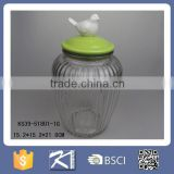 Kinsheng 2016 New Product Glass Jar Glass Pot with Porcelain Animal Lid                                                                         Quality Choice