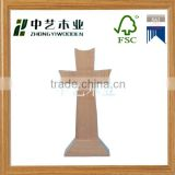 Made in China wooden crafts unfinished natural wood religious carved standing wooden cross
