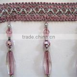Fashion Cheap Pink Acrylic Beaded Trim For Curtain, Cheap Fringe, Beaded Curtain Lace