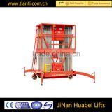 10 meter aluminum alloy telescopic work lift platform/mobile manual high lift pallet truck