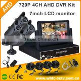 4ch 7inch LCD monitor AHD DVR KIT diy home security system cloud with 720P Bullet camera