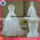 Latest casual dress designs made of Tulle wedding gowns with embelishment handmade flower belt