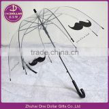 Clear Dome Bubble Umbrella with bread, mustache Design