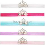 Baby Crown stretchy Headbands Girls kids Stretchy Headband Head Wrap with pearl Newborn Photo Prop Hair Accessories