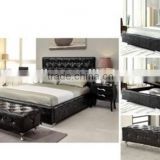 Button Pulled Headboard Black PU PVC Lift Storage Bed for Bedroom Furniture (AH3)