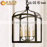 vintage rural iron black bird cage pendant lamp with Edison candle bulbs