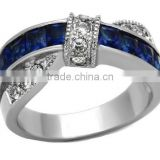 His Hers Blue Created-Sapphire Stainless Steel & Beveled Edge Wedding Engagement Ring Sets