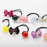 Wholesale Kids Cute candy round ball Hair Ties With cellulose acetate/resin Acrylic butterfly bow knot Beads Decorative