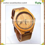 2016 bamboo wooden genuine leather watches leather band for couple