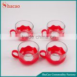 150ML Drinking Glass Tea Cup Sets with Red Plastic Handled Holders