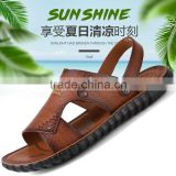 Good quality summer kids leather sandals for boys girls, children beach genuine leather sandals shoes