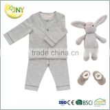 Factory supply new fashion plain grey cotton newborn baby rompers clothing set